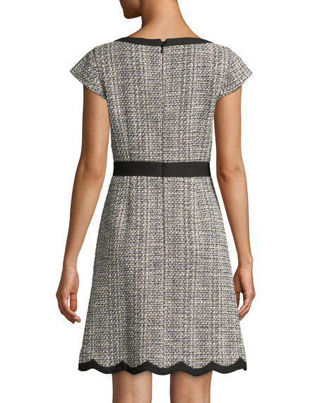 scallop tweed v-neck mini dress