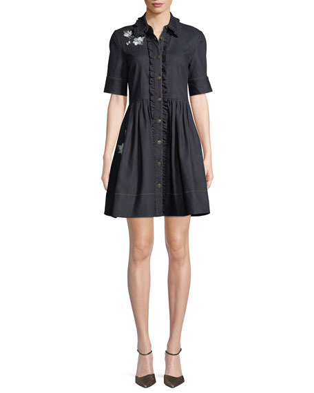 kate spade new york embroidered denim mini shirt