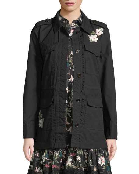 kate spade new york floral four-pocket army jacket