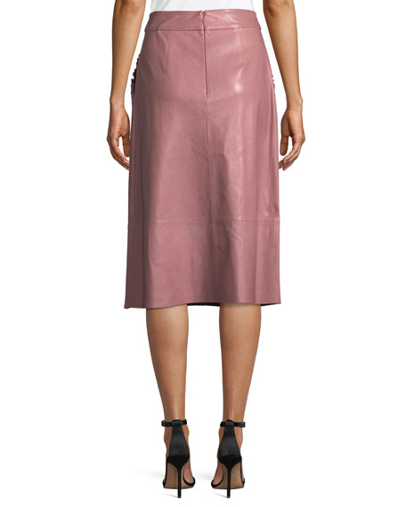pacey a-line lamb leather skirt