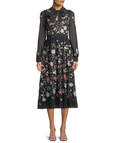 floria self-tie long-sleeve dress