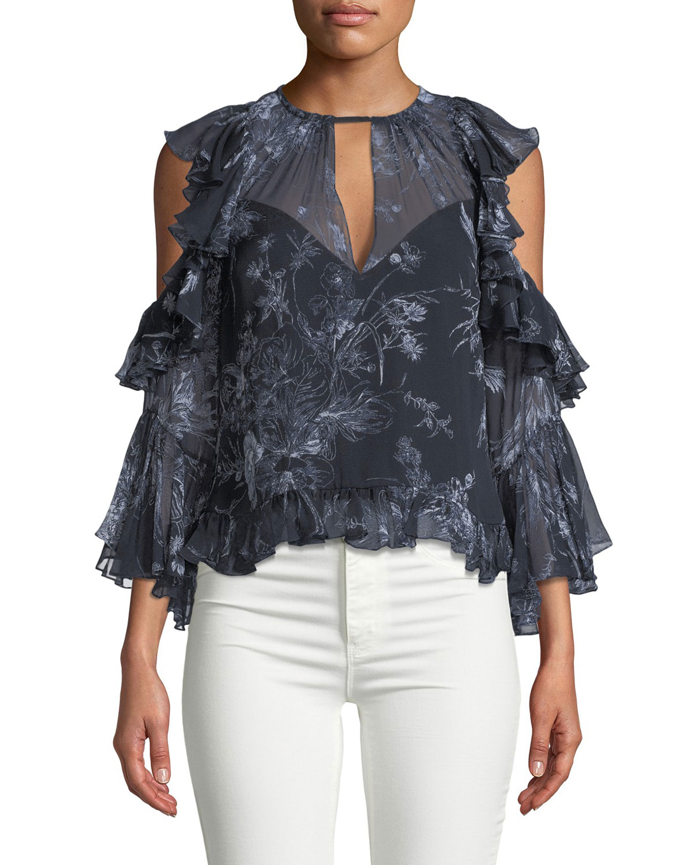 3d2b602f93327 cinq a sept Grace Cold-Shoulder Ruffled Silk Blouse
