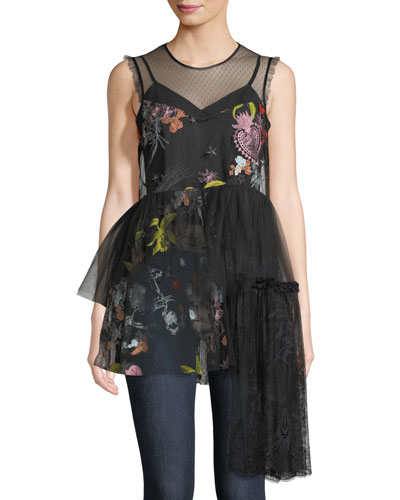 Inky Julieanne Sleeveless Embroidered Tulle Peplum Top