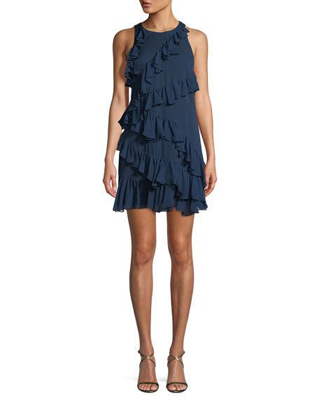 Taghrid Sleeveless Ruffled Silk A Line Short Dress by Neiman Marcus