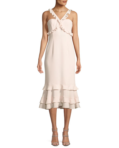 Kimora A-Line Crepe Midi Cocktail Dress with Ruffled Trim