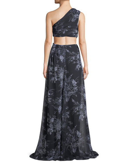 Goldie One-Shoulder Floral-Print Silk Open-Waist Gown