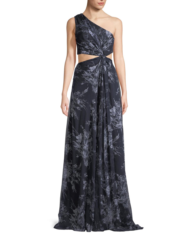 Silk One Shoulder Gown | Neiman Marcus