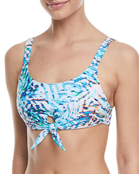 Knot-Front Printed Halter Swim Top