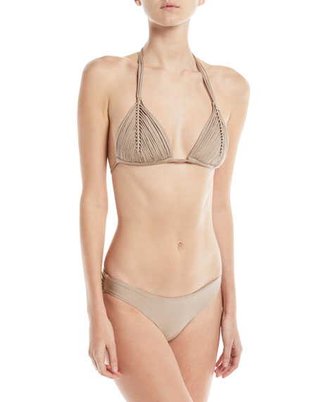 PilyQ Isla Solid Braided Triangle Swim Top, Sand