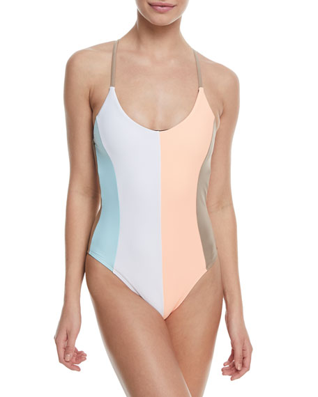 PilyQ Farrah Scoop-Neck Colorblocked One-Piece Swimsuit