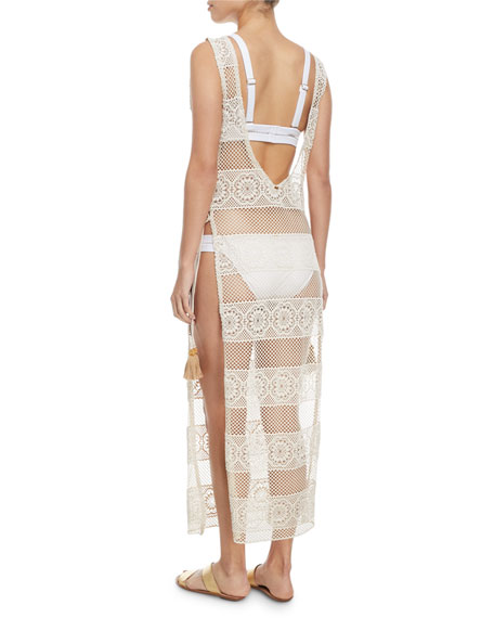 Joy Lace Long Coverup w/ Tie Sides