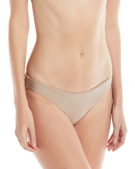 Solid Ruched Swim Bottom, Sand