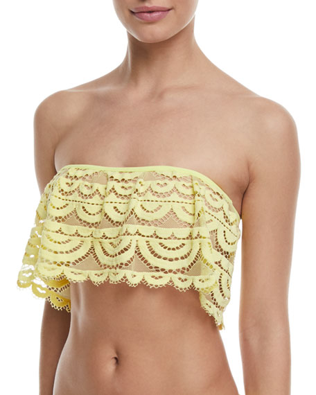 Scalloped Lace Flutter Bandeau Swim Top