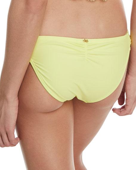Lace Fanned Full-Coverage Swim Bikini Bottom, Sol