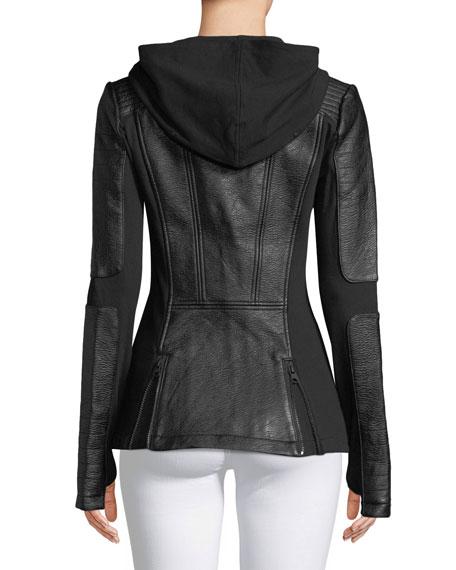 Asymmetric Zip-Front Faux-Leather Moto Jacket