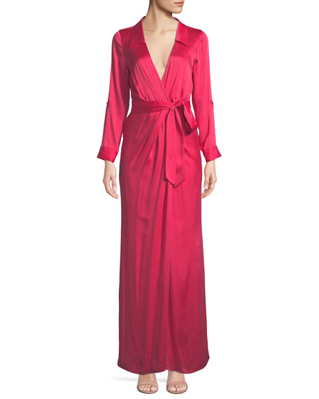 Bayley Wrap Draped Silk Maxi Shirtdress