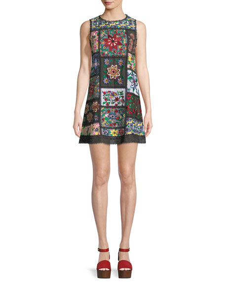 Alice + Olivia Marcelina Sleeveless Embroidered Tunic Dress