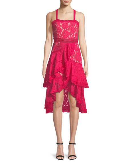 Alice + Olivia Angelita Asymmetric Tiered Lace Date