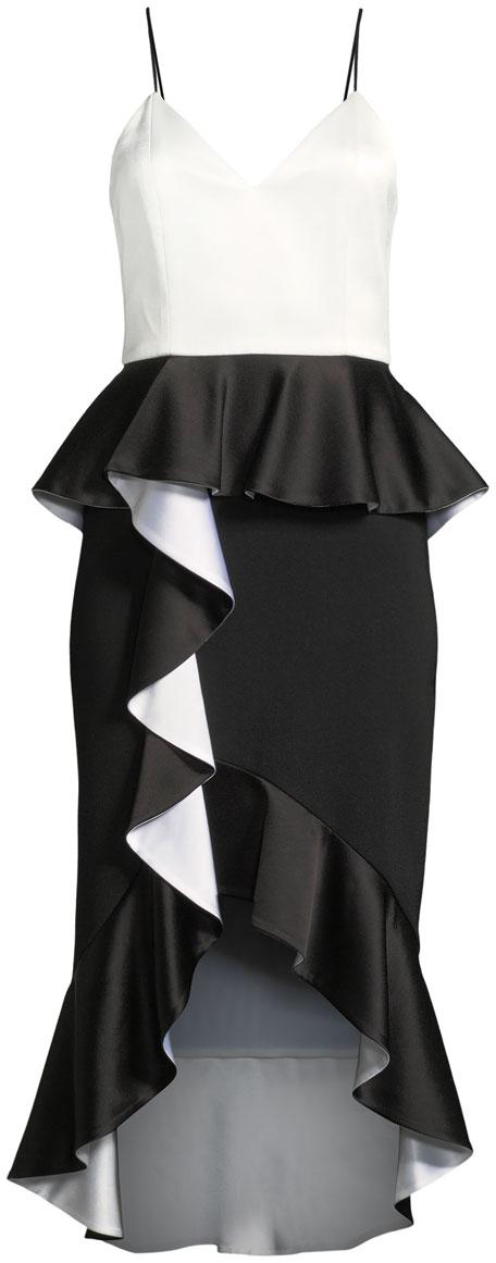 Oriana Sweetheart-Neck Peplum Ruffle Date Night Dress