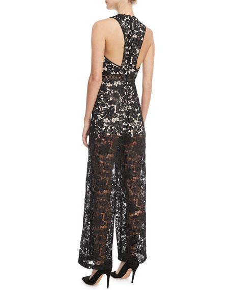 Chels Deep-V Sleeveless Wide-Leg Lace Jumpsuit