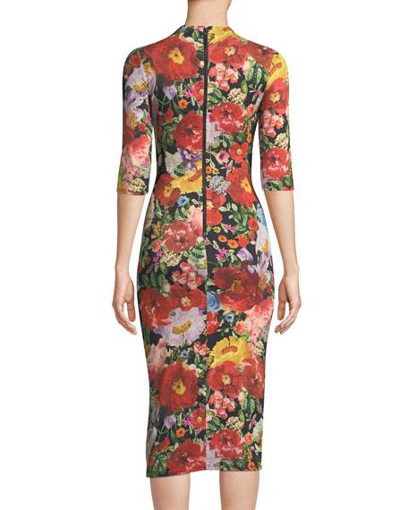 Delora Mock-Neck Fitted Sheath Dress