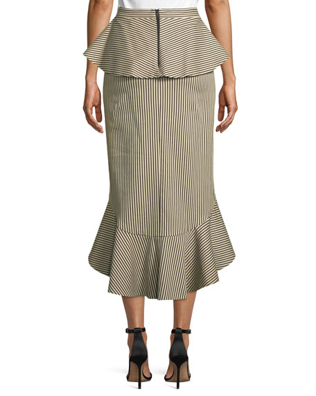 Alessandra Ruffled Peplum Striped Pencil Skirt