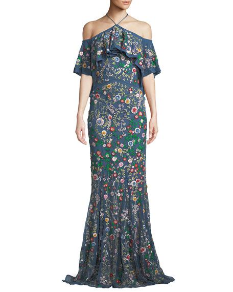 Alice + Olivia Annelea Floral-Embroidered Halter Gown