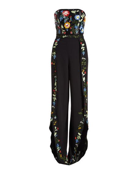 Jeri Strapless Wide-Leg Embellished Sequin Tulip-Hem Jumpsuit