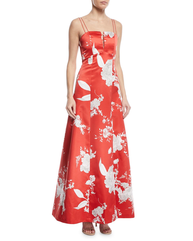 Alice Olivia Rai Bustier Floral Print Evening Gown Neiman Marcus