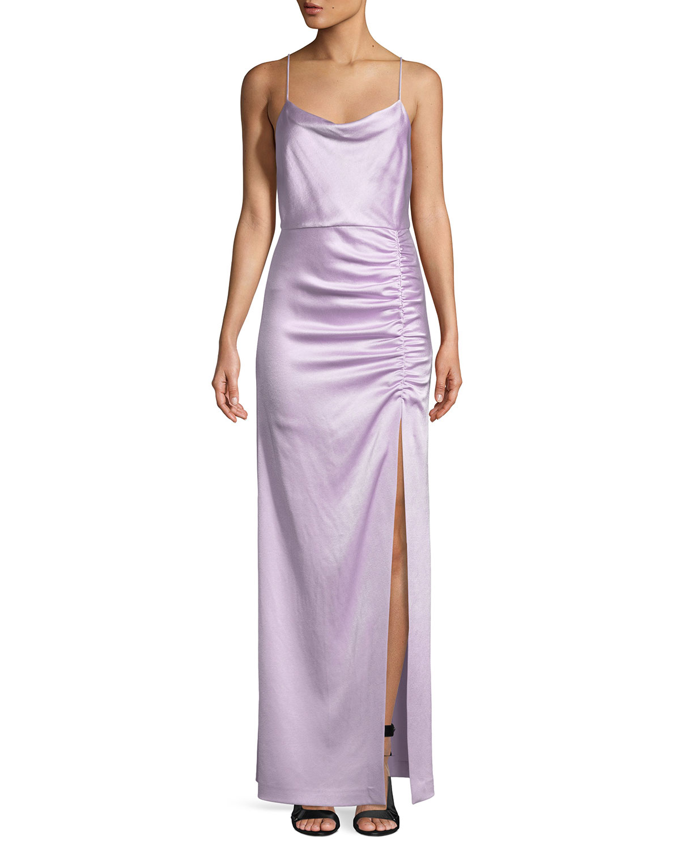 Cowl Neck Wedding Gown: Alice + Olivia Diana Sleeveless Cowl-Neck High-Slit Column