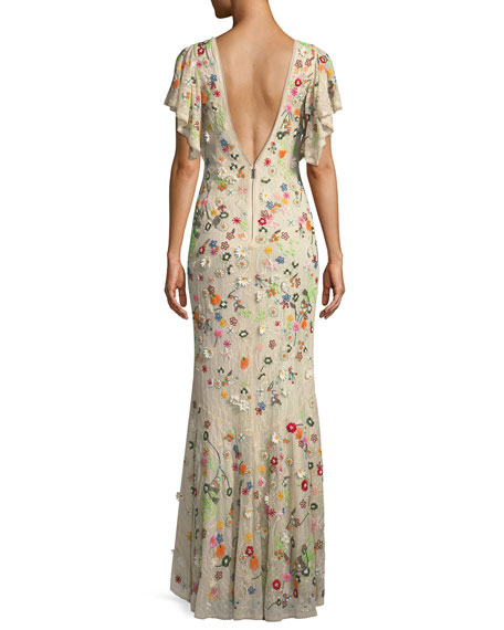 Lavada Low-Back Floral-Embroidered Mermaid Gown