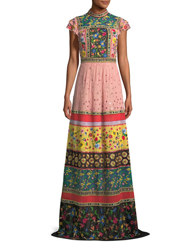 Arabella Mock-Neck Floral-Embroidered Evening Gown