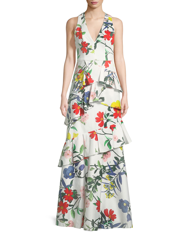 Alice + Olivia Flossie Sleeveless Deep-V Floral-Print Ruffled Tiered ...
