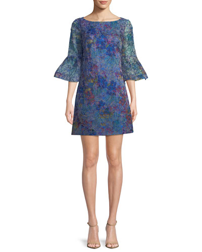 Floral Organza Trumpet-Sleeve Mini Dress