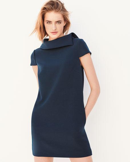 Roll-Collar Short-Sleeve Mini Dress