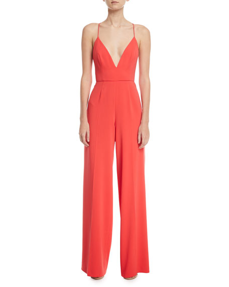 Jay Godfrey Crisscross-Back V-Neck Jumpsuit