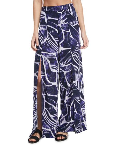 La Blanca Bali Hai Slit-Front Wide-Leg Coverup Pants