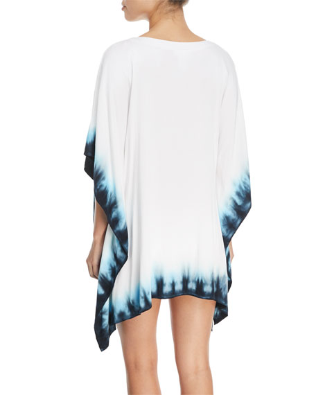 St.Tropez Lace-Front Tie-Dye Coverup Tunic