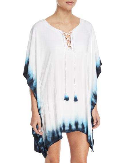 La Blanca St.Tropez Lace-Front Tie-Dye Coverup Tunic