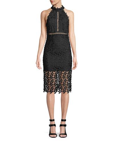 Gemma Sleeveless Halter Lace-Guipure Cocktail Dress