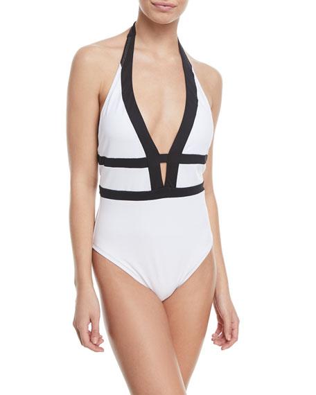 Modern Halter One-Piece Swimsuit
