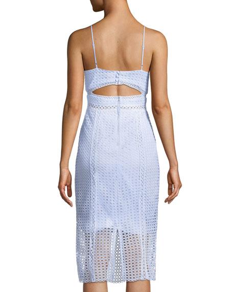 V-Neck Circle Lace Sheath Dress