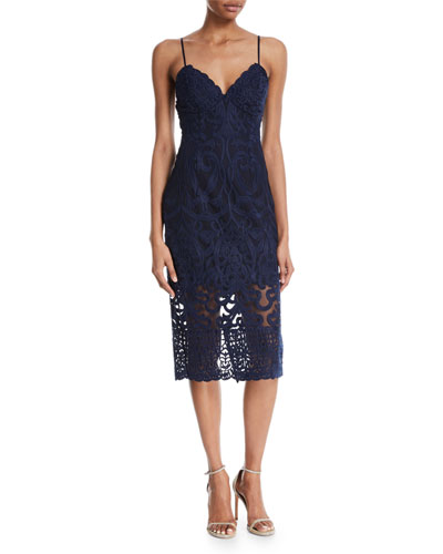 Gia Sleeveless Damask-Lace Sheath Cocktail Dress