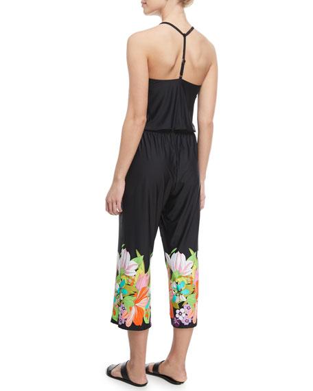 Bouquet Floral-Print Wide-Leg Jersey Coverup Jumpsuit
