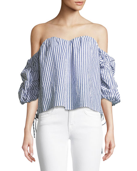 Bardot Tie-Sleeve Off-the-Shoulder Striped Cotton Bustier Top