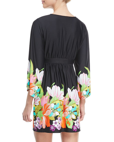 Bouquet Floral-Print V-Neck Coverup Tunic