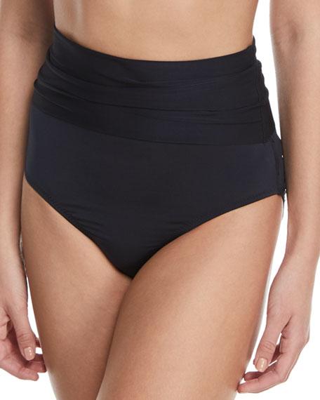Key Solids Shirred High-Waist Swim Bikini Bottoms