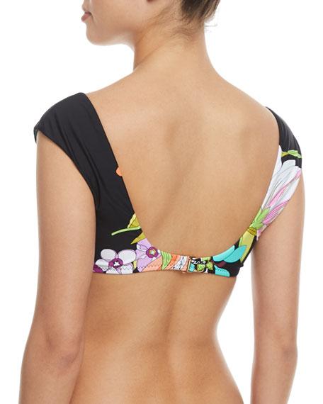 Bouquet-Floral Cap-Sleeve Swim Top