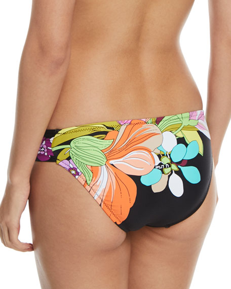 Bouquet Floral-Print Shirred-Side Hipster Swim Bikini Bottoms