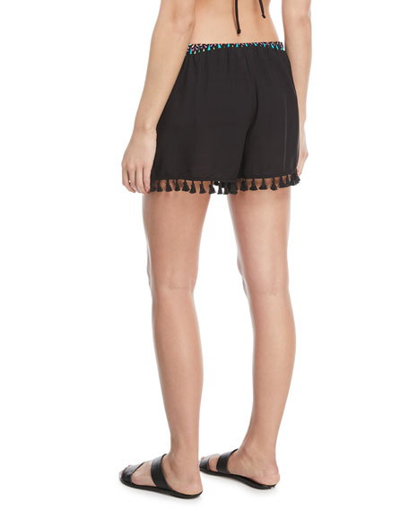 Sunburst Printed Coverup Shorts with Tassel Trim